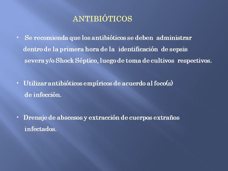 ANTIBIÓTICOS Se recomienda que los antibióticos se deben administrar
