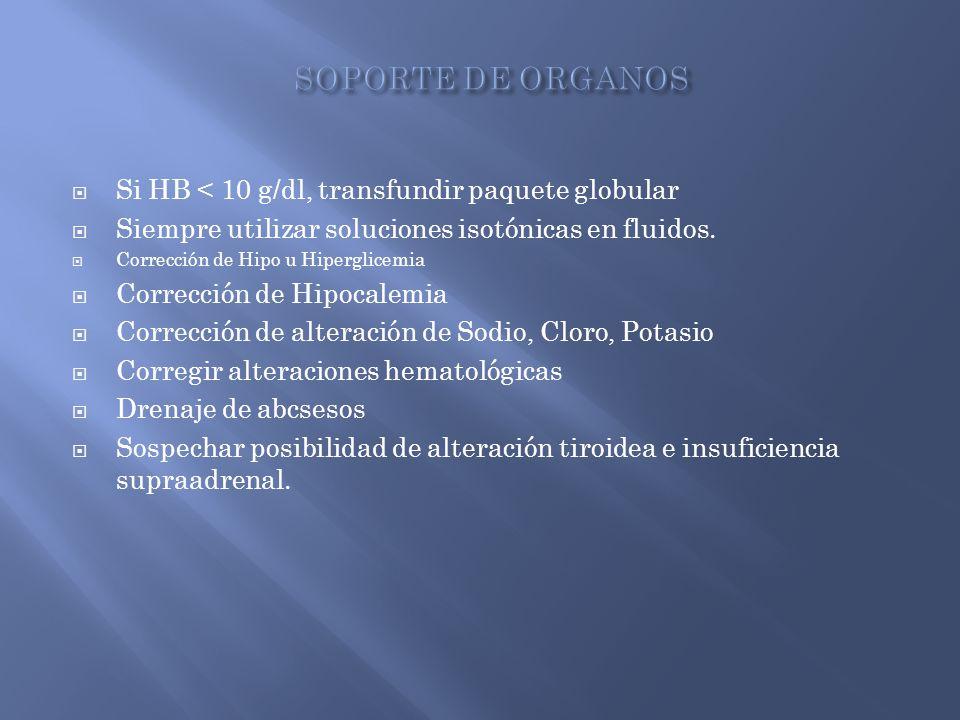 SOPORTE DE ORGANOS Si HB < 10 g/dl, transfundir paquete globular