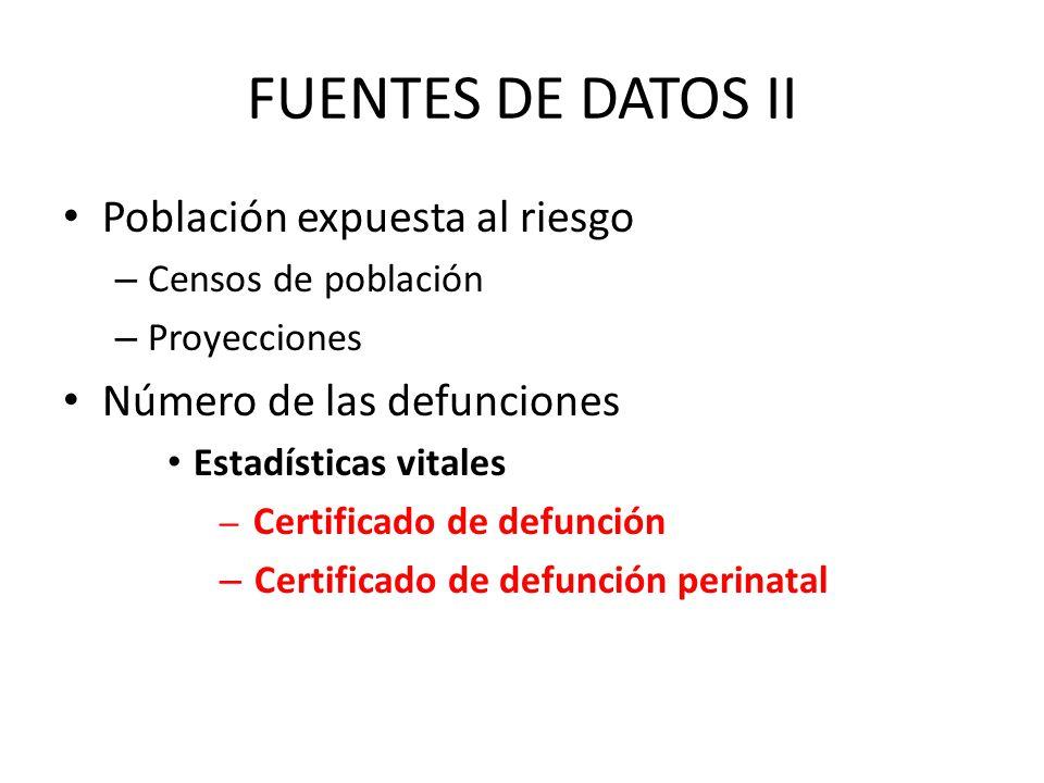 FUENTES DE DATOS II Población expuesta al riesgo