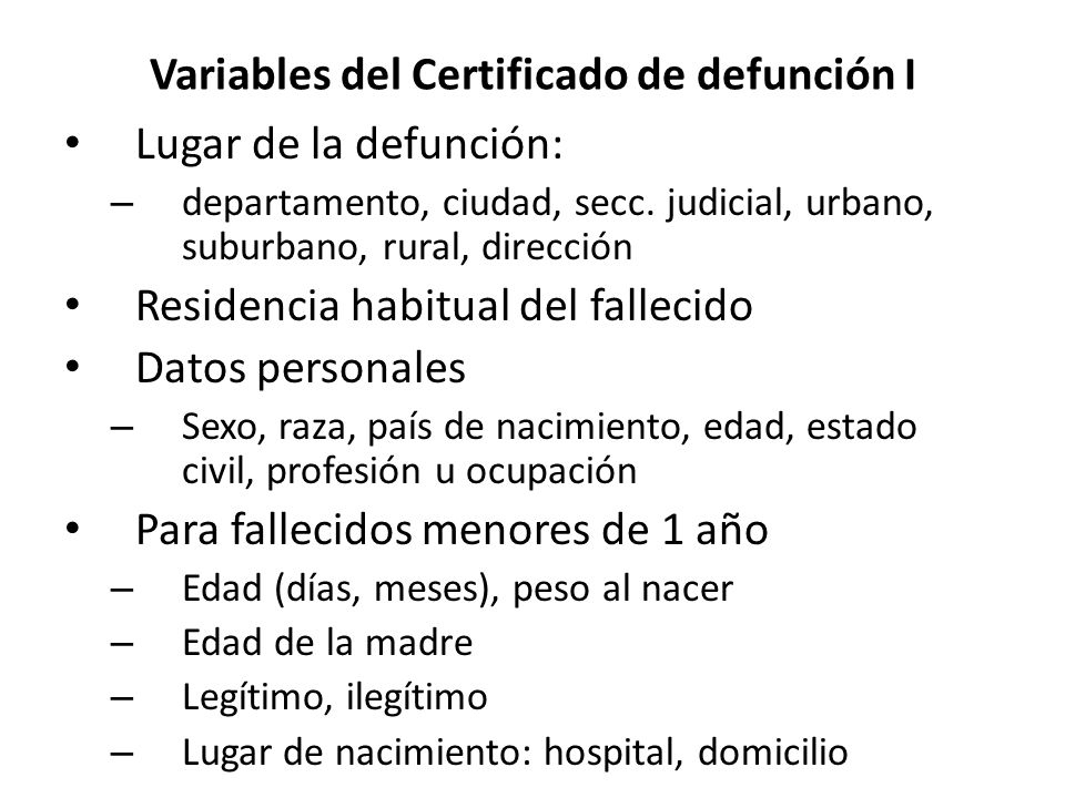 Variables del Certificado de defunción I