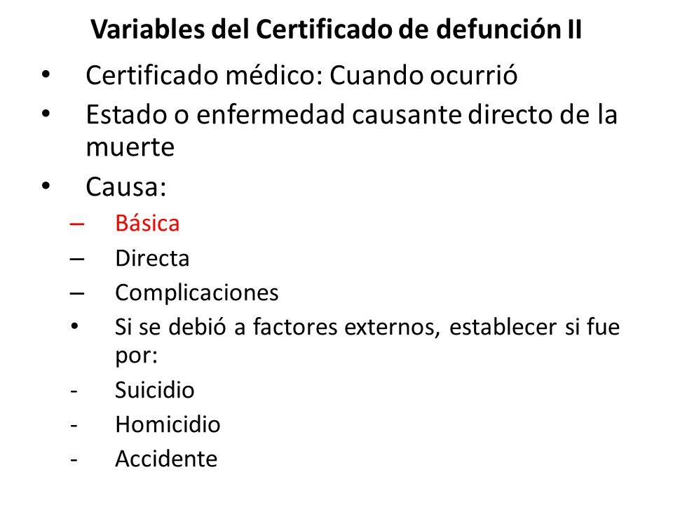 Variables del Certificado de defunción II