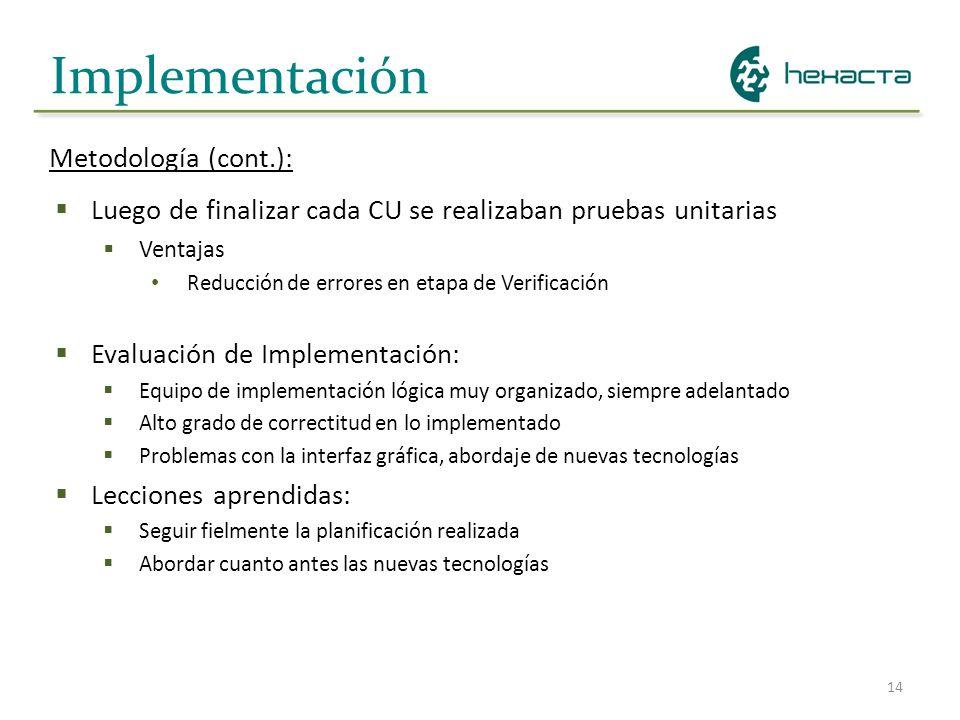 Implementación Metodología (cont.):