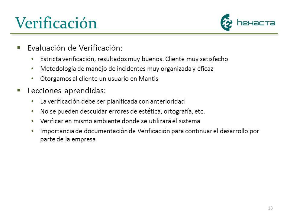 Verificación Evaluación de Verificación: Lecciones aprendidas: