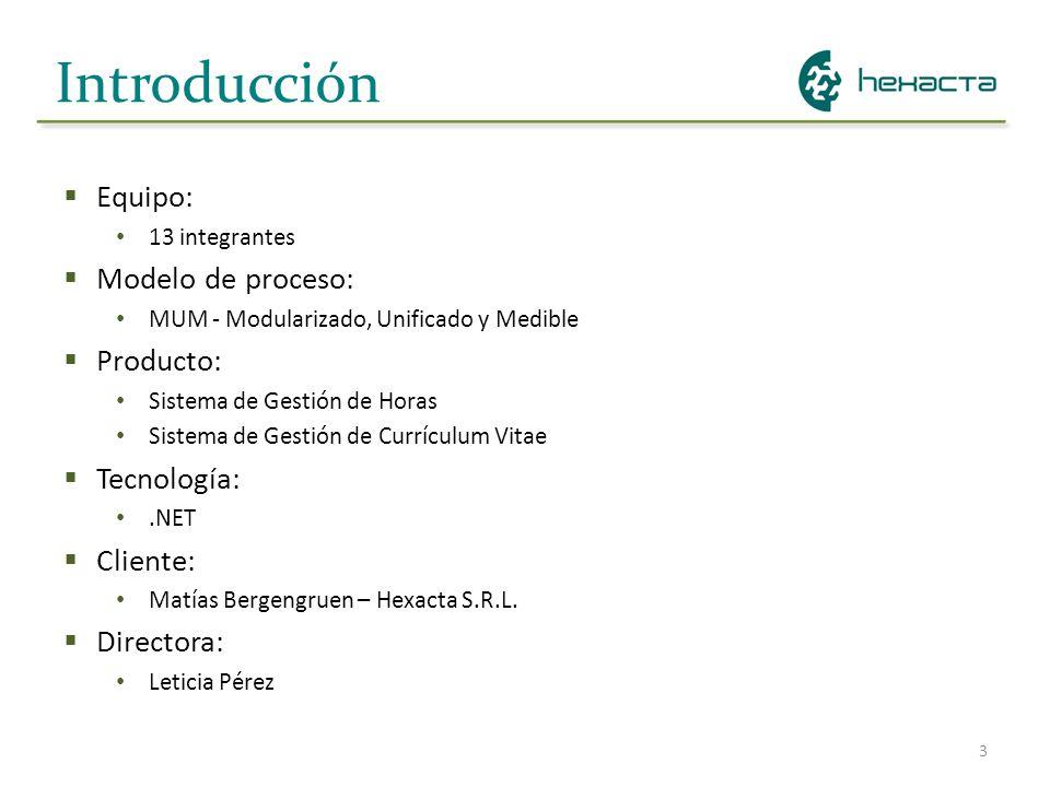 Introducción Equipo: Modelo de proceso: Producto: Tecnología: Cliente: