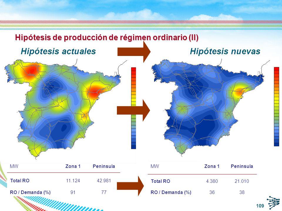 Hipótesis de producción de régimen ordinario (II)
