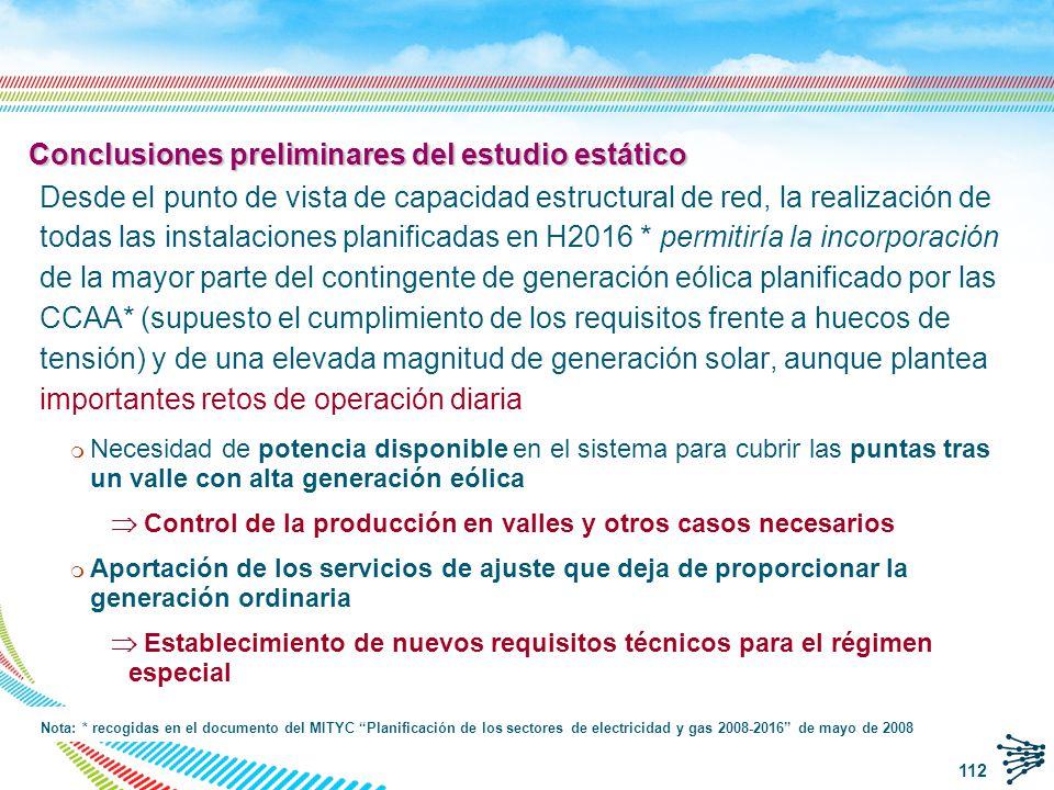 Conclusiones preliminares del estudio estático