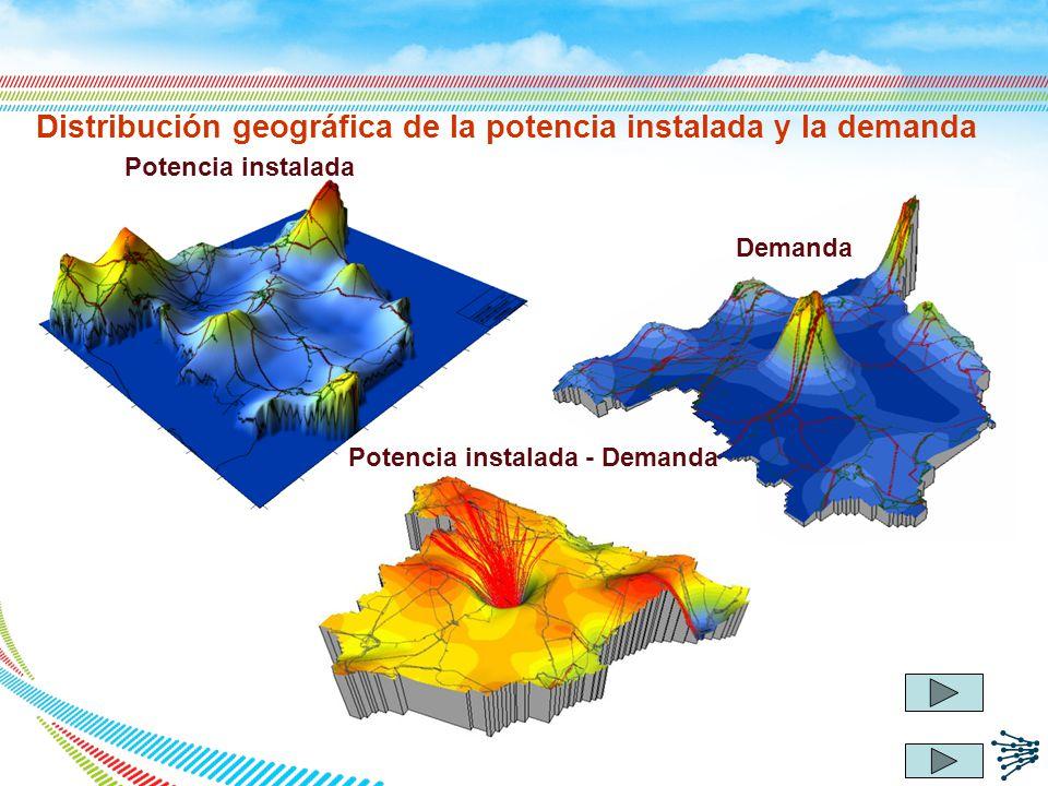 Distribución geográfica de la potencia instalada y la demanda