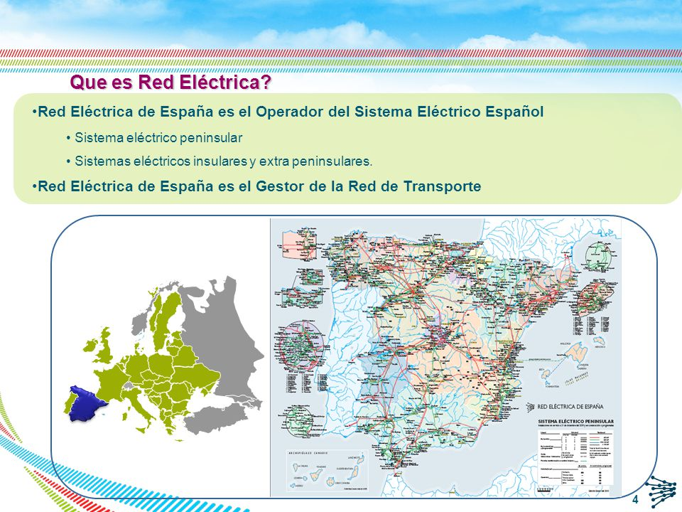 Que es Red Eléctrica Red Eléctrica de España es el Operador del Sistema Eléctrico Español. Sistema eléctrico peninsular.