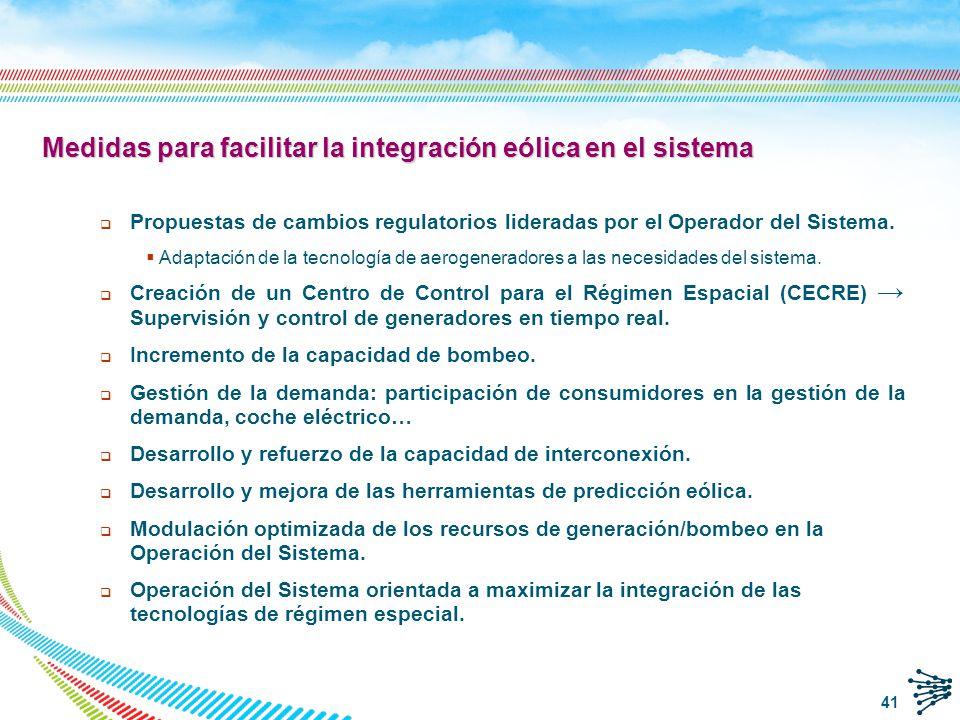 Medidas para facilitar la integración eólica en el sistema