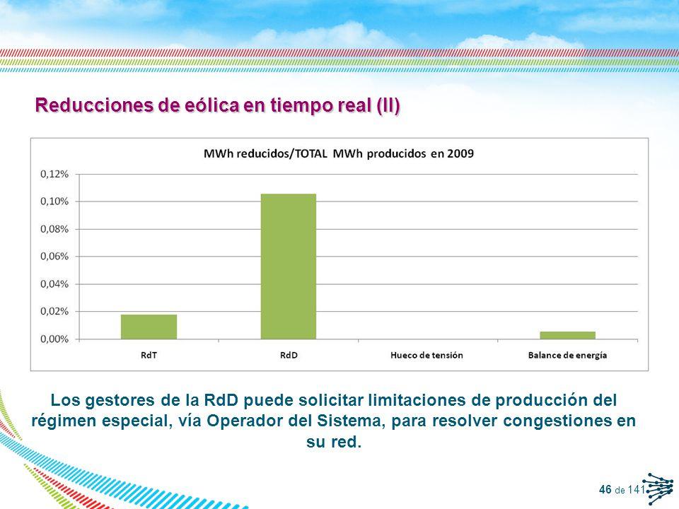Reducciones de eólica en tiempo real (II)