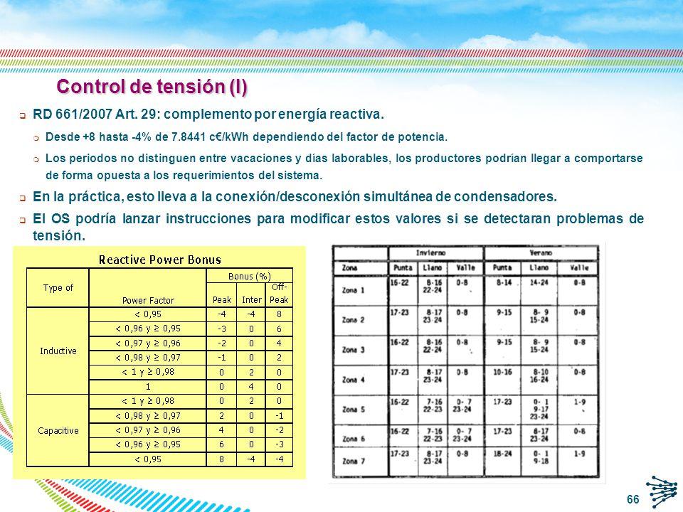 Control de tensión (I) RD 661/2007 Art. 29: complemento por energía reactiva.