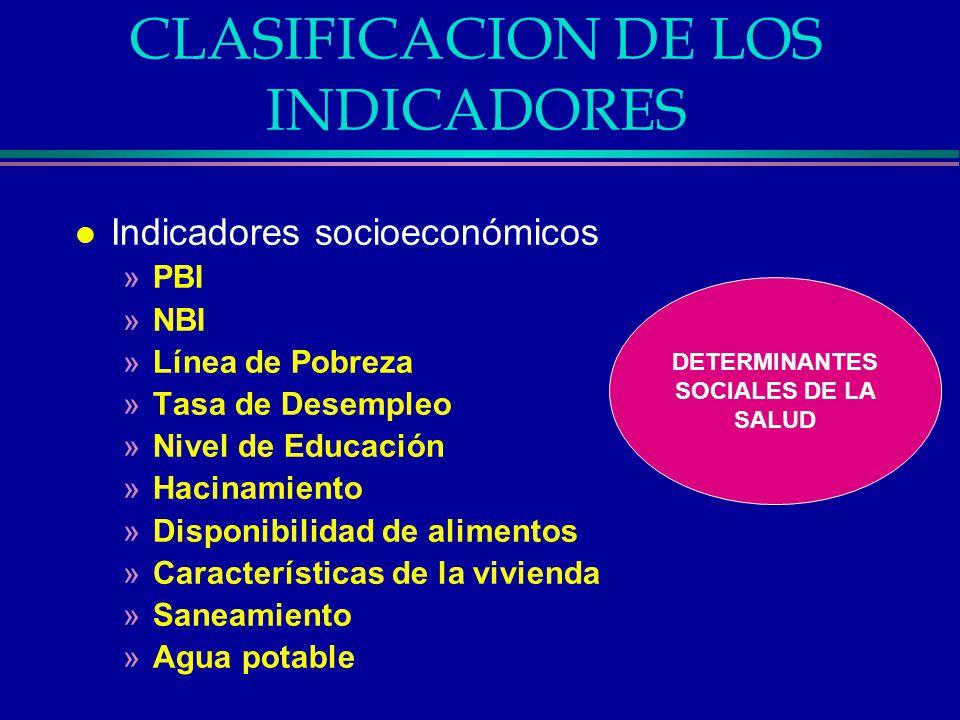 CLASIFICACION DE LOS INDICADORES