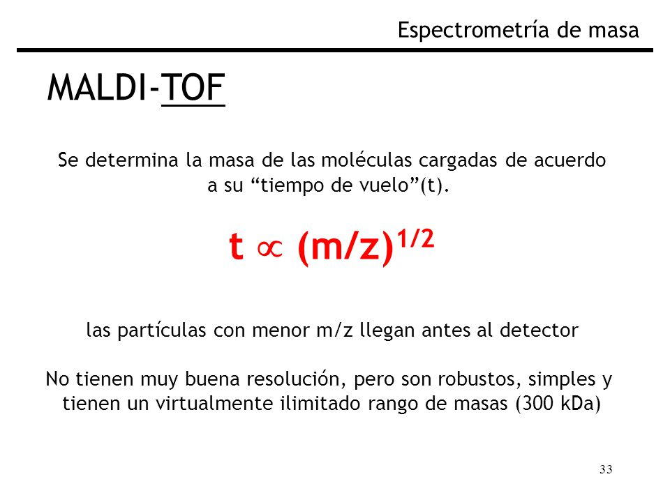 t  (m/z)1/2 MALDI-TOF Espectrometría de masa