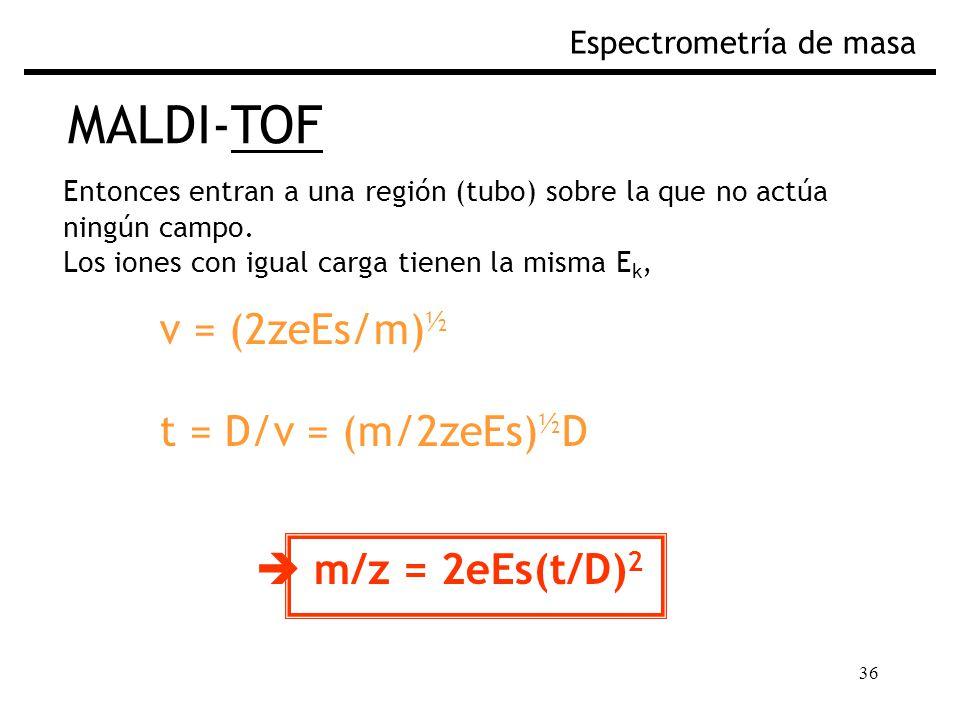 MALDI-TOF v = (2zeEs/m)½ t = D/v = (m/2zeEs)½D  m/z = 2eEs(t/D)2