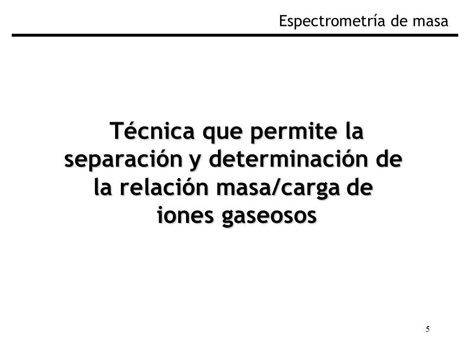 separación y determinación de la relación masa/carga de