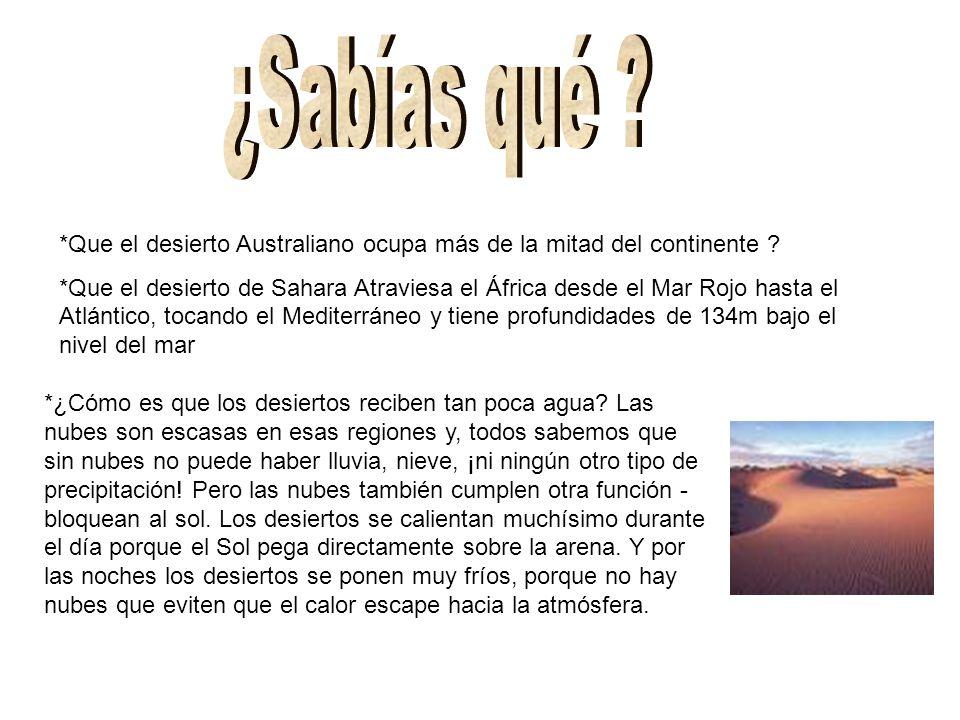 ¿Sabías qué *Que el desierto Australiano ocupa más de la mitad del continente