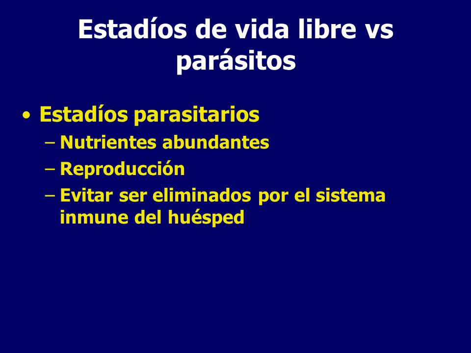 Estadíos de vida libre vs parásitos