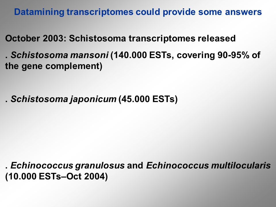 Datamining transcriptomes could provide some answers