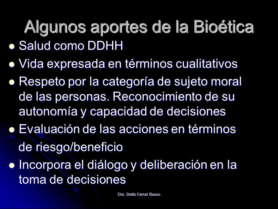 Algunos aportes de la Bioética