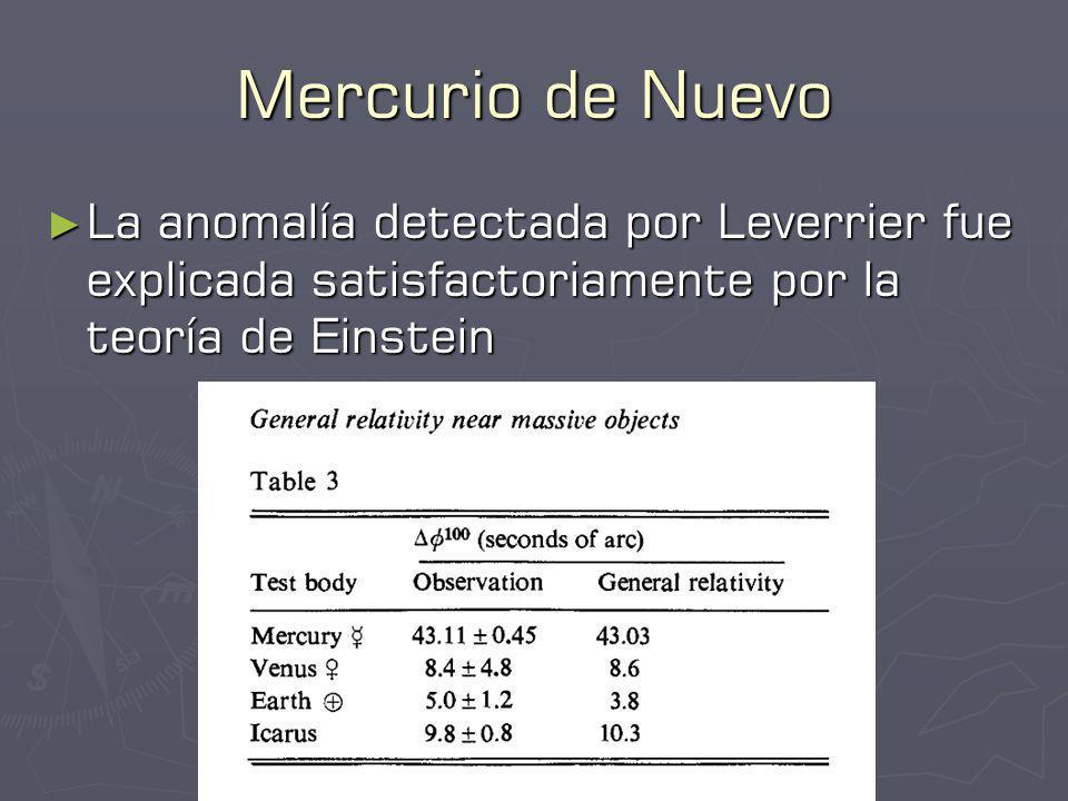Mercurio de Nuevo La anomalía detectada por Leverrier fue explicada satisfactoriamente por la teoría de Einstein.