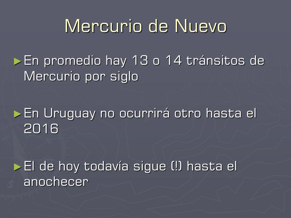 Mercurio de Nuevo En promedio hay 13 o 14 tránsitos de Mercurio por siglo. En Uruguay no ocurrirá otro hasta el 2016.