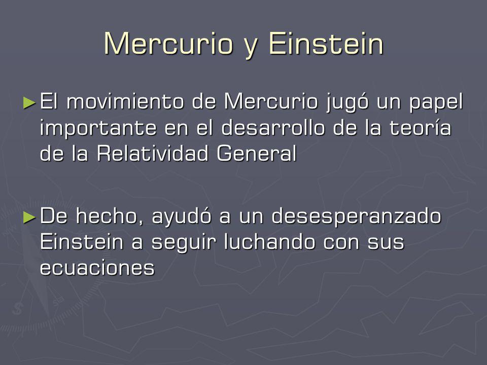 Mercurio y Einstein El movimiento de Mercurio jugó un papel importante en el desarrollo de la teoría de la Relatividad General.