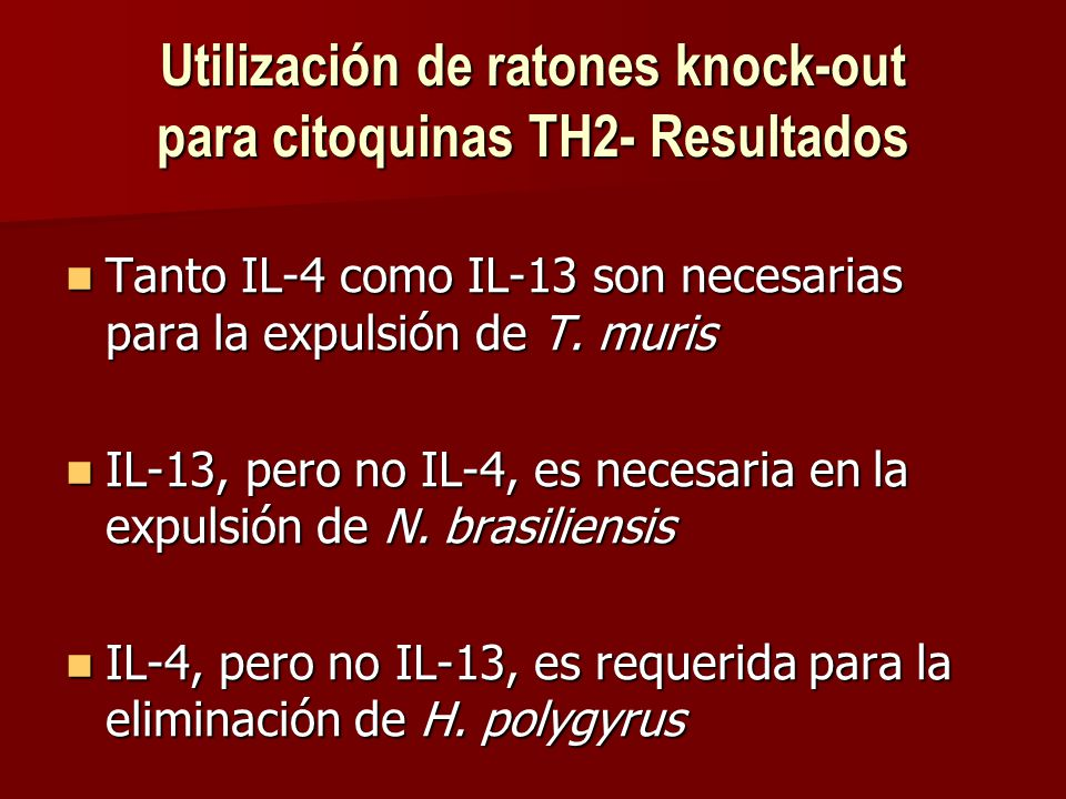 Utilización de ratones knock-out para citoquinas TH2- Resultados