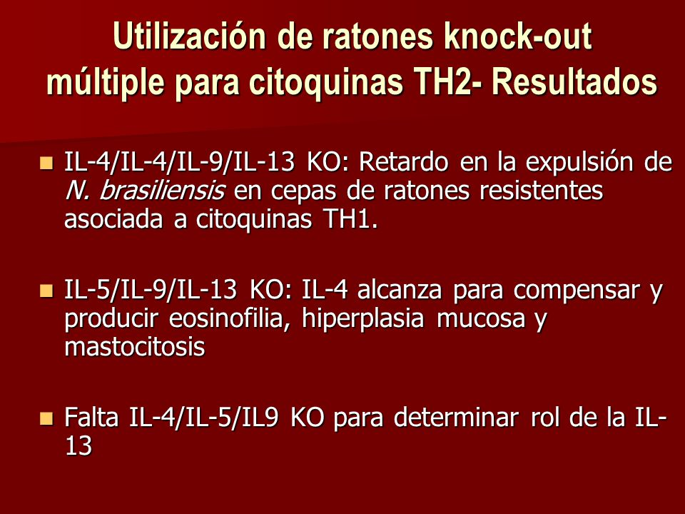 Utilización de ratones knock-out múltiple para citoquinas TH2- Resultados