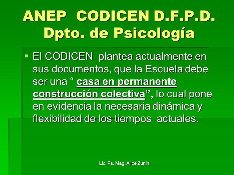 ANEP CODICEN D.F.P.D. Dpto. de Psicología