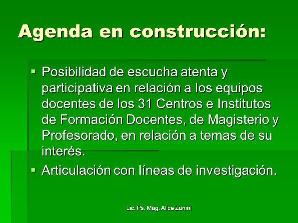 Agenda en construcción: