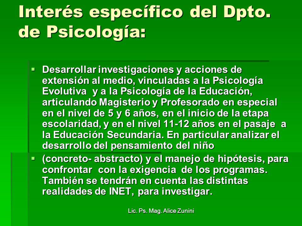 Interés específico del Dpto. de Psicología:
