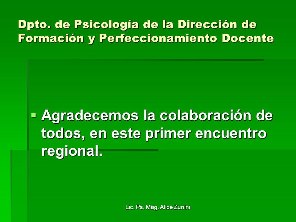 Dpto. de Psicología de la Dirección de Formación y Perfeccionamiento Docente