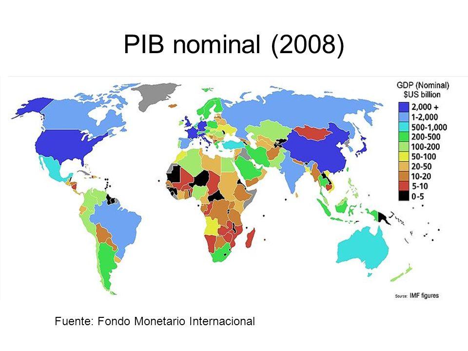 PIB nominal (2008) Fuente: Fondo Monetario Internacional