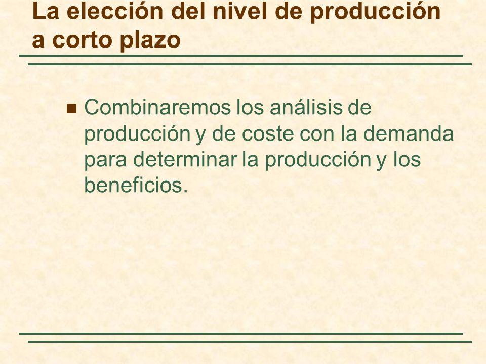 La elección del nivel de producción a corto plazo