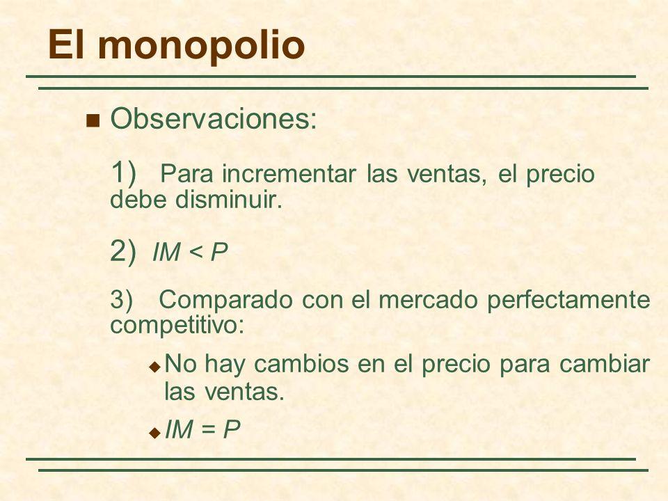 El monopolio Observaciones: