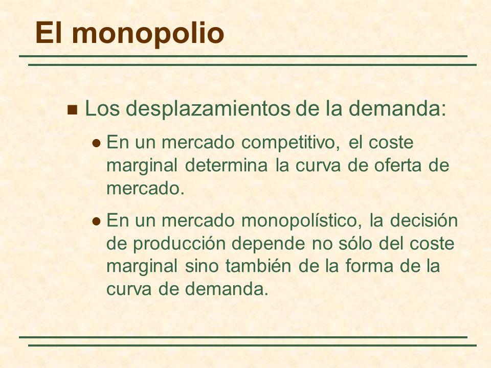El monopolio Los desplazamientos de la demanda: