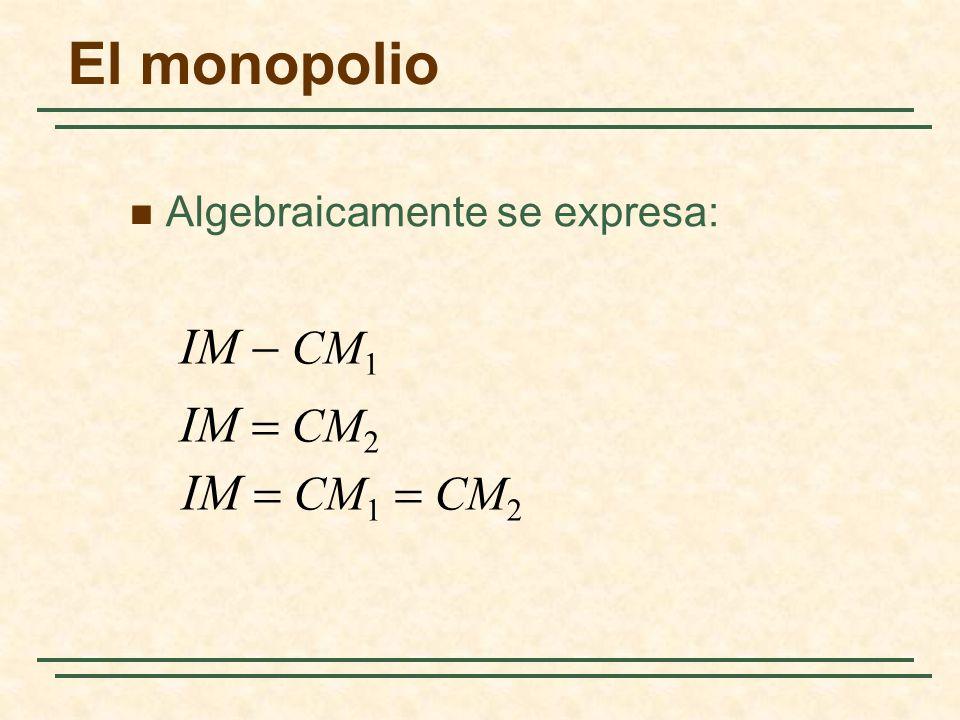 El monopolio IM - CM1 IM = CM2 IM = CM1 = CM2