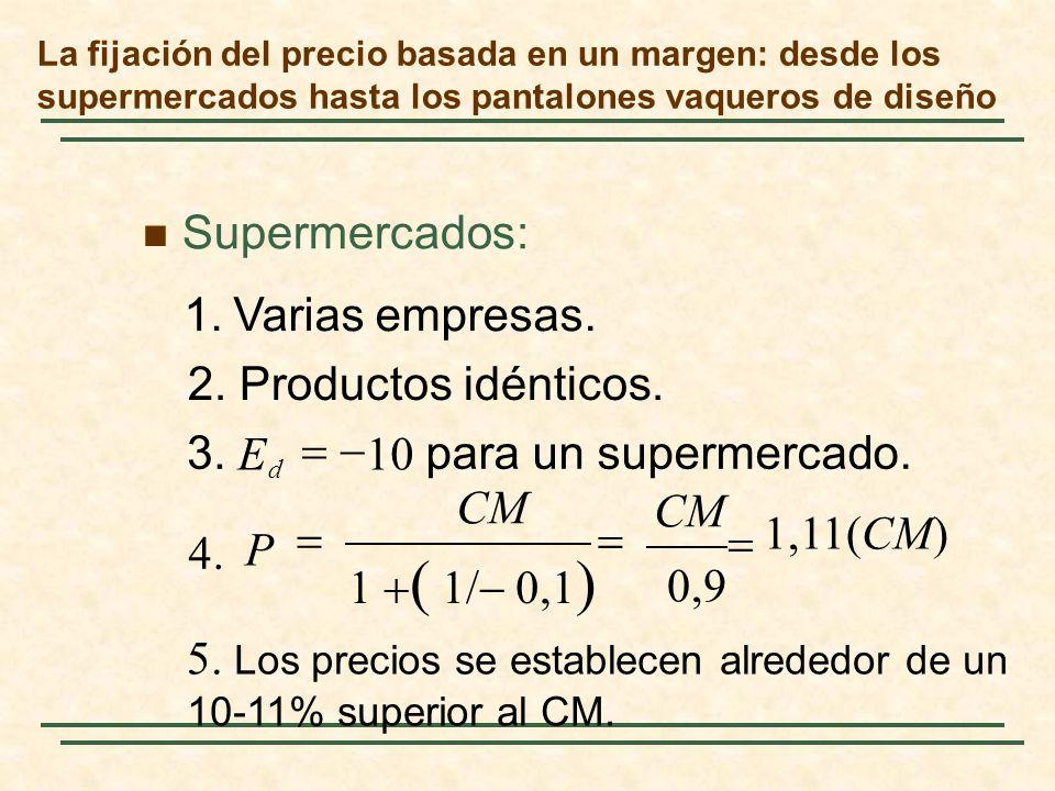 5. Los precios se establecen alrededor de un 10-11% superior al CM.