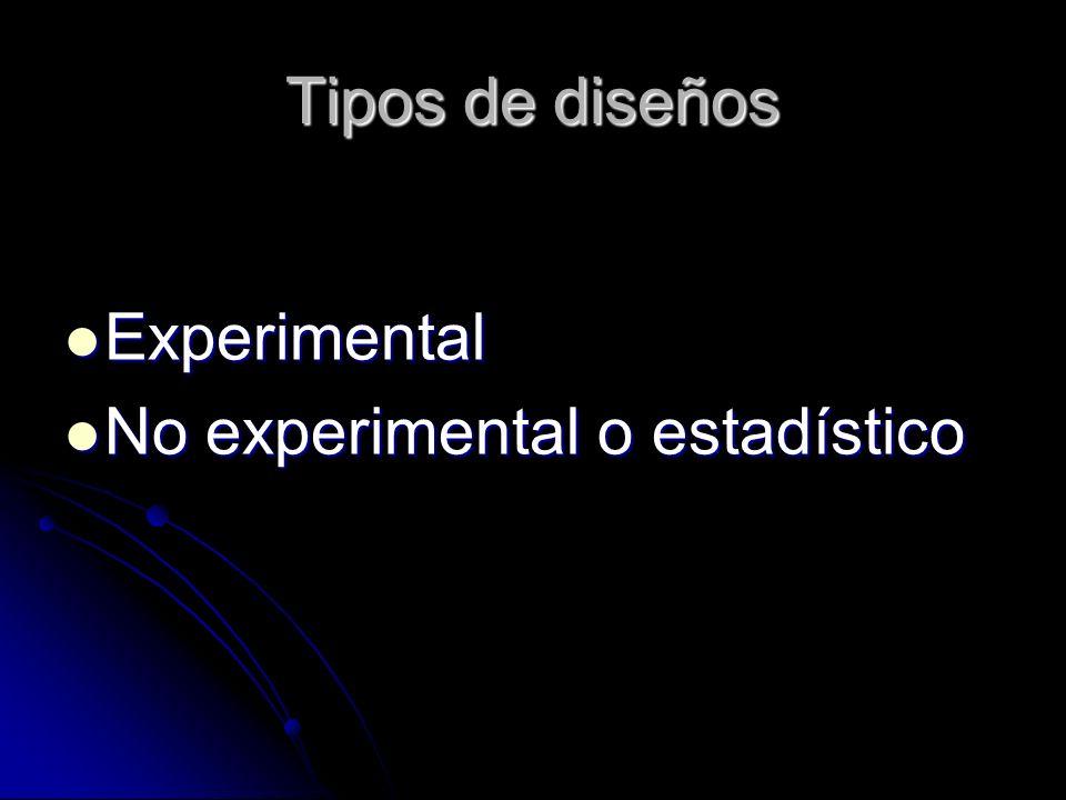 Tipos de diseños Experimental No experimental o estadístico