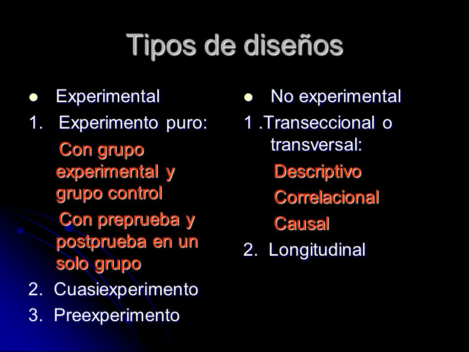 Tipos de diseños Experimental 1. Experimento puro: