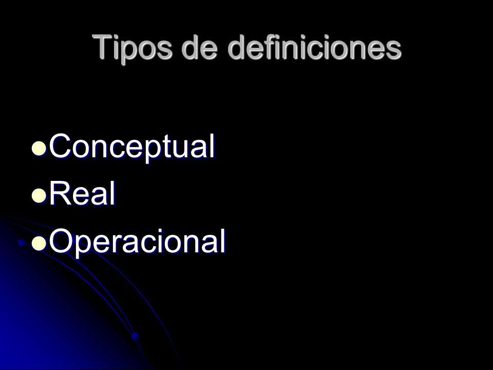 Tipos de definiciones Conceptual Real Operacional