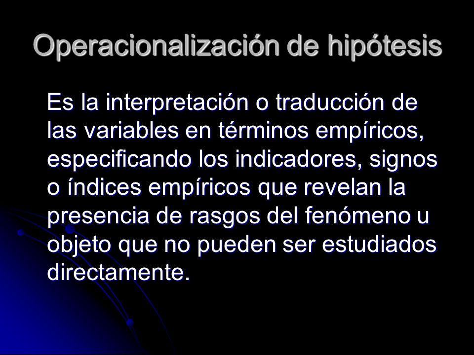 Operacionalización de hipótesis