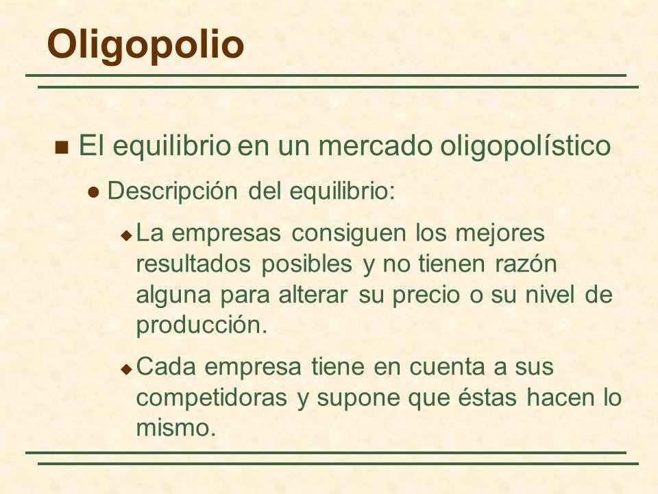 Oligopolio El equilibrio en un mercado oligopolístico