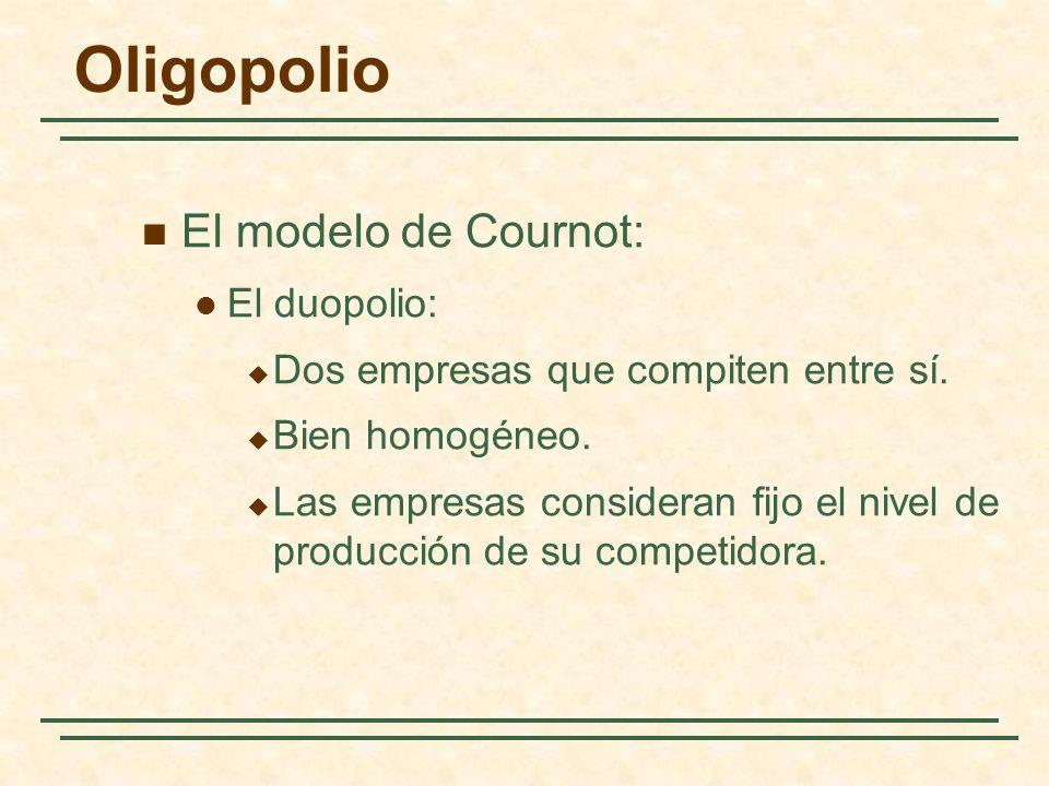 Oligopolio El modelo de Cournot: El duopolio: