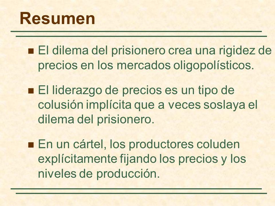 Resumen El dilema del prisionero crea una rigidez de precios en los mercados oligopolísticos.