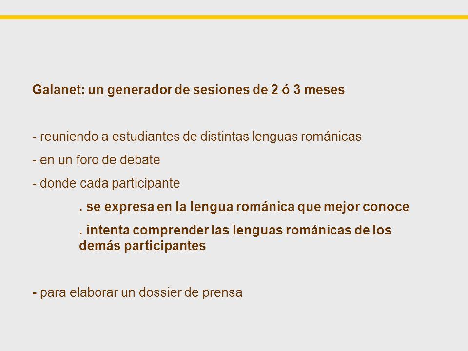 Galanet: un generador de sesiones de 2 ó 3 meses