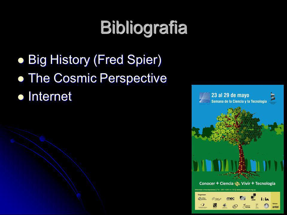 Bibliografia Big History (Fred Spier) The Cosmic Perspective Internet