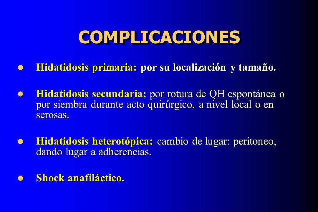 COMPLICACIONES Hidatidosis primaria: por su localización y tamaño.