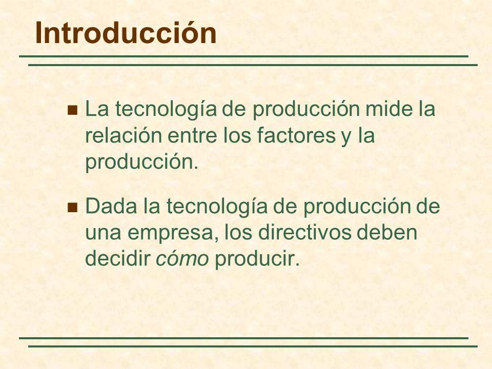 Introducción La tecnología de producción mide la relación entre los factores y la producción.