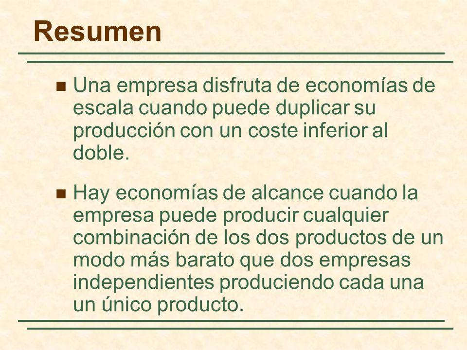 Resumen Una empresa disfruta de economías de escala cuando puede duplicar su producción con un coste inferior al doble.